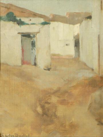Charles Reiffel (American, 1862-1942) Village scene 7 1/2 x 5 1/2in