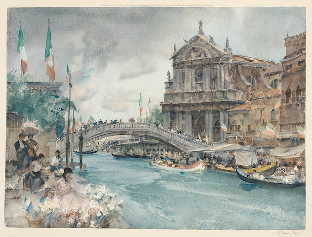 W. Russell Flint (British 1880-1967), Venetian canal scene, Rialto Bridge, signed l/r in pencil, colored print, published by Frost and Reed, 17 1/2 x 24in;
