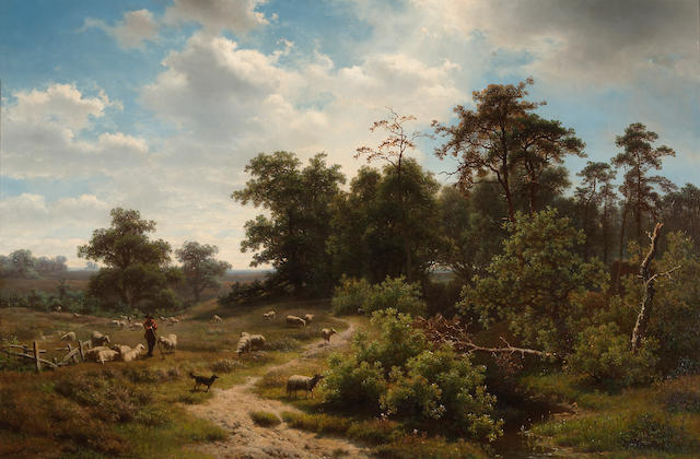 Richard Burnier (Dutch, 1825-1884) A wooded landscape with shepherd and his flock 24 1/4 x 35 3/4in (61.5 x 90.8cm)