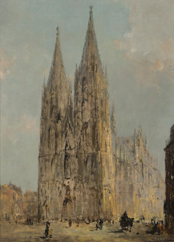 E. Dinet A view of a cathedral 24 3/4 x 17 3/4in (62.8 x 45.2cm)
