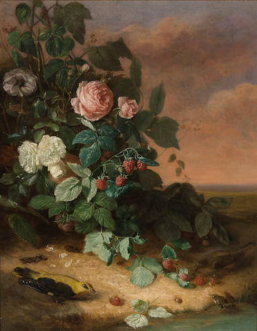 Attributed to George Cochran Lambdin (American, 1830-1896) Still life with flowers, berries and wildlife 31 x 24 1/2in