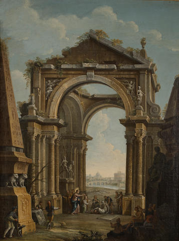 Circle of Antonio Joli (Modena circa 1700-1777 Rome) An architectural capriccio with Christ raising Lazarus 39 1/2 x 29 1/2in (100.4 x 74.9cm)