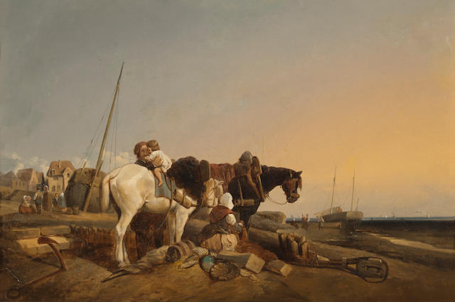 English School, early 19th Century The day's catch; Mending the nets (a pair) 17 x 26in