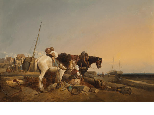 English School, early 19th Century The day's catch; Mending the nets (a pair) 17 x 26in (43.2 x 66.1cm)