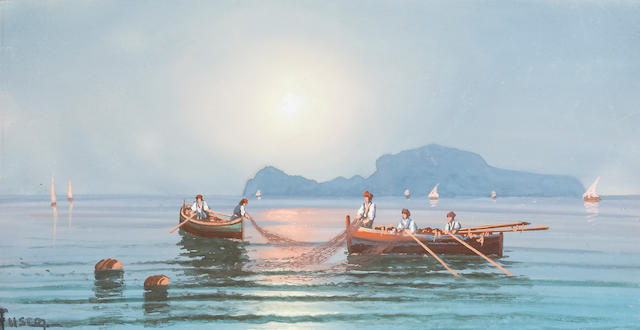 Italian School Fishermen bringing in the nets sight, 6 x 11 1/2in (15.2 x 29.2cm)