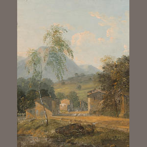 English School, 19th Century An Italianate landscape with buildings in the foreground 8 3/4 x 7 1/2in (22.3 x19cm)