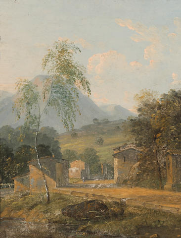 English School, 19th Century An Italianate landscape with buildings in the foreground 8 3/4 x 7 1/2in
