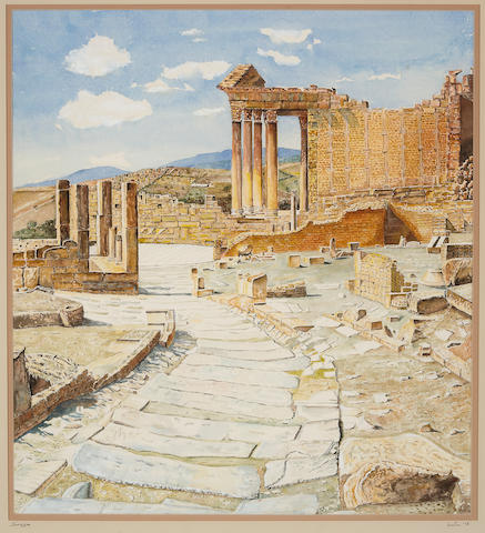 John DeVries (20th Century) Roman Ruins, Dougga, Tunisia, 1978 24 3/4 x 22 1/2in