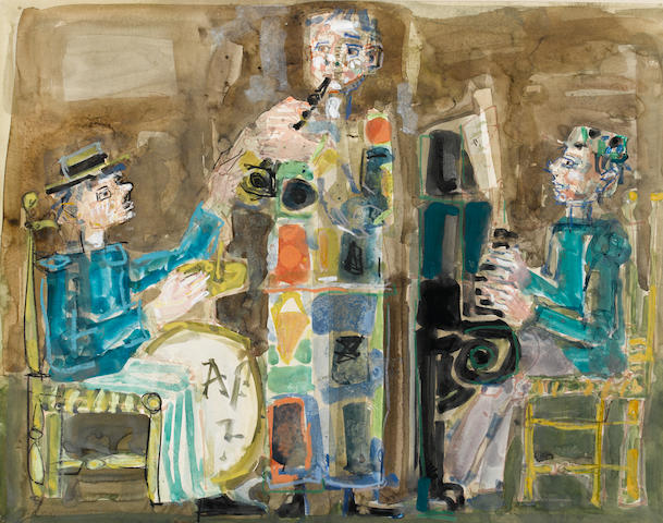 Attributed to Paul Aizpiri (French, born Paris 1919) Les musiciens 19 7/8 x 23 11/16in. (50.5 x 60.2cm)