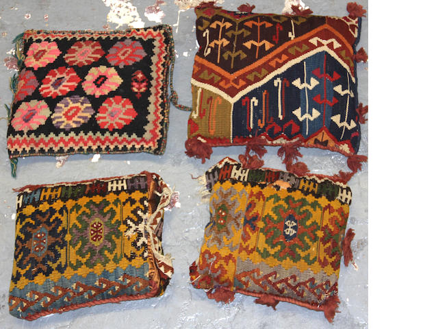 A group of 4 kilim pillows