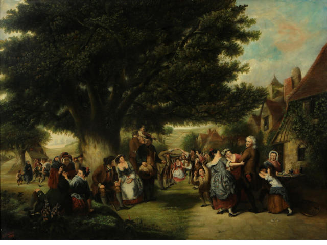 S. Slader A village celebration 27 x 37in
