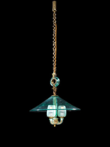 Seguso A Ceiling Light circa 1940  Gilt metal and hand blown glass  Height including chain: 39 in. 99 cm.<BR />