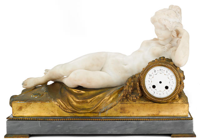 A French marble gilt bronze and St. Anne marble figural clock case  after a model by Clodion (Claude Michel) (French, 1738-1814) early 20th century