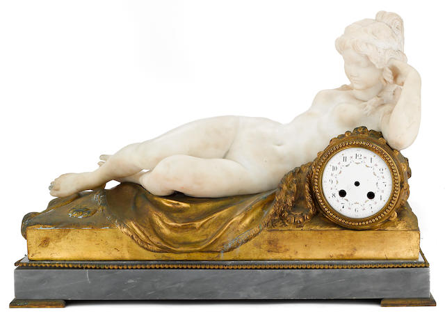 A French marble gilt bronze and St. Anne marble figural clock case <BR />after a model by Clodion (Claude Michel) (French, 1738-1814)<BR />early 20th century