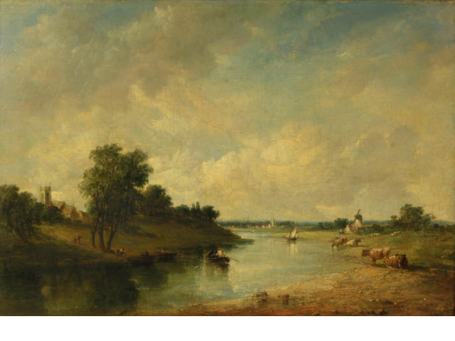 Alfred Vickers Sr. (British, 1786-1868) A river landscape with cattle watering and a windmill in the distance 21 x 30in