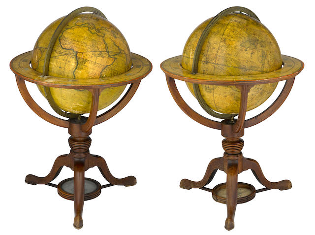 An assembled pair of George III Cary's terrestrial and celestial globes  dated 1816 and 1821