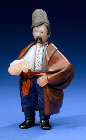 Peasant with pipe lapis pants, enamel decorated shirt, jasper cloak, agate face
