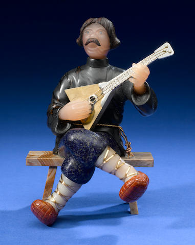 Balaika player, jasper coat, lapis pants, jasper shoes, petrified wood bench
