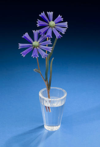"Blue Chalcedony ""Bachelor's Button"" 4 Russian nephrite leaves rock crystal vase, 18k stems."