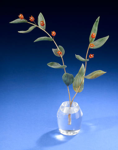 Red Bellflower flower with diamonds, nephrite leaves, rock crystal vase.