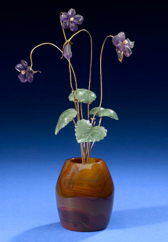 Amethyst, rose diamonds, violet flower study, nephrite leaves, banded agate vase.