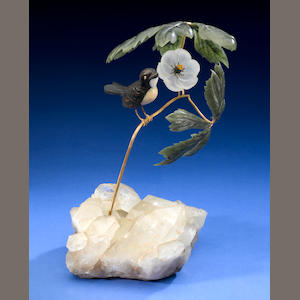 Finch on 18k gold branch, nephrite leaves, rose diamond pistils, rock crystal flower.