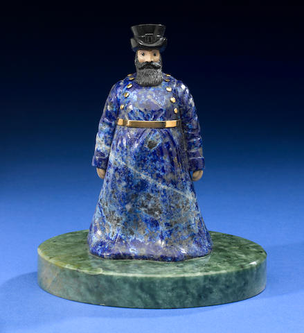 Lapis Coachman on nephrite base