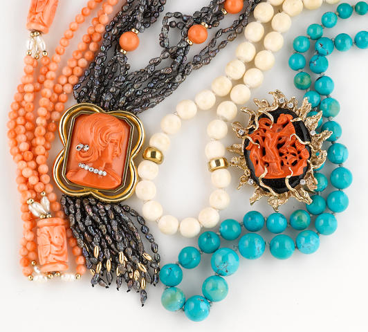 A collection of coral, black onyx, cultured freshwater pearl, ivory, turquoise, diamond, 18k, 14k and gold-filled jewelry