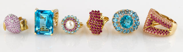 A collection of six gem-set, synthetic gem, cultured pearl, diamond and 14k gold rings