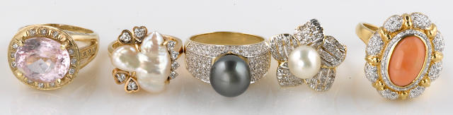 A collection of five cultured pearl, kunzite, coral, diamond, 14k and 18k gold rings