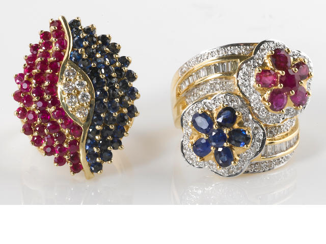 Two diamond, ruby, sapphire, 18k and 14k gold rings