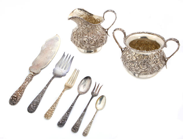An American sterling silver floral repousse assembled part flatware service The Stieff Company, Baltimore, MD, first half 20th century