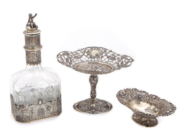 A group of three German silver and etched glass Historismus table articles late 19th / 20th century