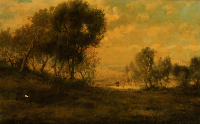 Patrick Vincent Berry (American, 1852-1922) A wooded landscape with cattle watering in a pond  18 x 30in