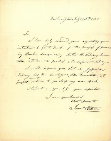 LIBRARY OF CONGRESS & JEFFERSON. PITKIN, TIMOTHY. Autograph Letter Signed, 1 p, 4to (conjoined address leaf), Washington D.C., February 28, 1815,