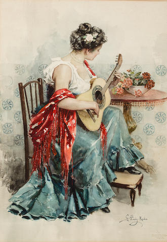 Gabriel Puig Roda (Spanish, 1865-1919) The Flamenco player sheet: 25 5/8 x 21 1/2in (73 x 54.7cm); image: 23 3/4 x 17 1/2in (60.4 x 44.5cm)
