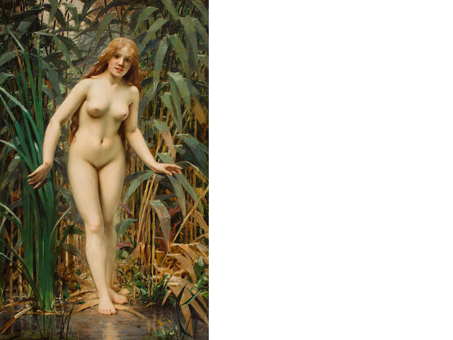 Victor Tortez (French, ?-1890) A young bather 70 1/2 x 44 1/2in (179 x 95.5cm)