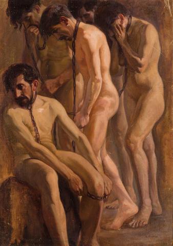 Laureano (Laureà) Barrau Buñol (Spanish, 1863-1957) The prisoners 47 1/2 x 33 1/2in (120.7 x 85cm)