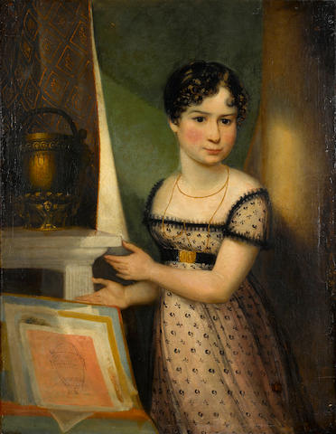 French(?) School, early 19th Century A portrait of a young woman standing next to an urn on a pedestal 36 x 27 3/4in