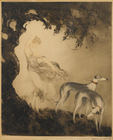 Louis Icart (French, 1888-1950) Woman with greyhounds