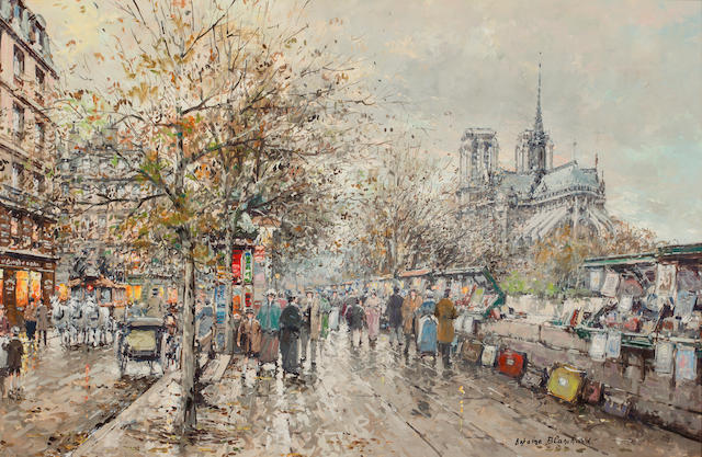 Antoine Blanchard (French, 1910-1988) Les bouquinistes, Notre Dame 23 1/2 x 36in (59.8 x 91.5cm)