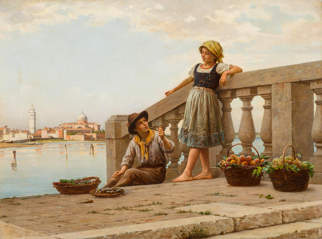 Antonio Ermolao Paoletti (Italian, 1834-1912) The young fruit sellers 21 3/4 x 29 1/4in (51.3 x 75cm)
