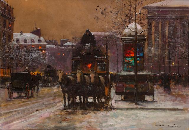 Edouard Léon Cortès (French, 1882-1969) Boulevard La Madeleine 13 x 18in (33 x 46cm)