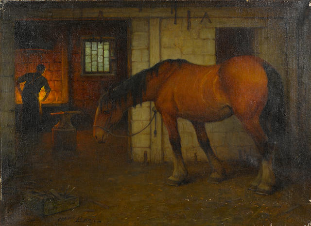 William Barr (British/American, 1867-1933) Smithy 18 1/4 x 24 1/8in unframed