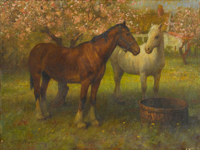 William Barr (British/American, 1867-1933) Horses at Foxbar 15 1/8 x 20 1/8in unframed
