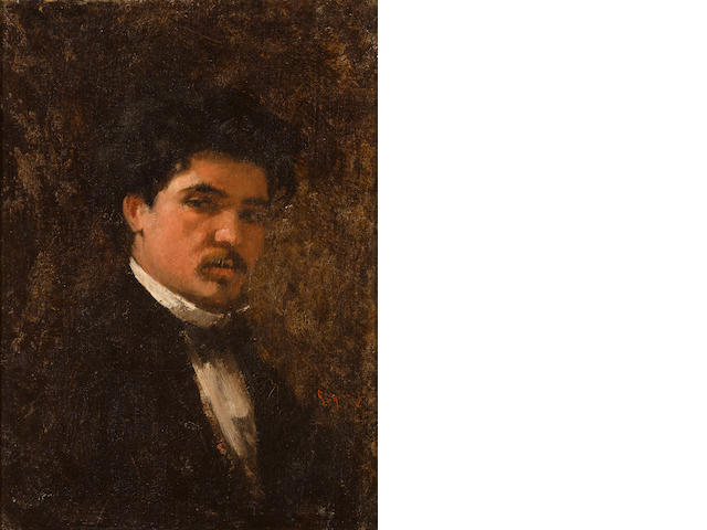 Nicolae Grigorescu (Romanian, 1838-1907) Portrait of the painter Petru Verussi 11 3/4 x 8 5/8in (29.8 x 22cm)