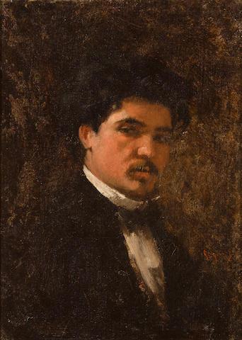 Nicolae Grigorescu (Romanian, 1838-1907) Portrait of the painter Petru Verussi 11 3/4 x 8 5/8in (29.8 x 22cm)