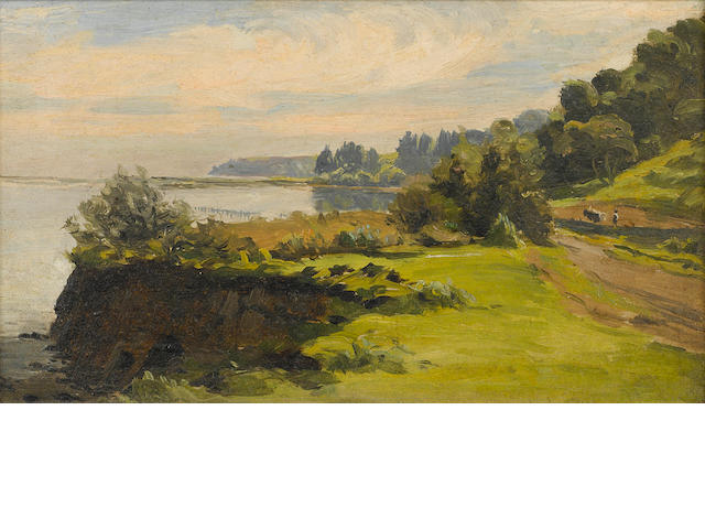 Thaddeus Welch (American, 1844-1919) Goleta Slough 6 1/8 x 10 1/4in