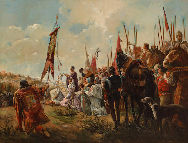 Antonio Casanova y Estorach (Spanish, 1847-1896) Isabella I the Catholic, conqueror of Granada 39 1/2 x 50 3/4in 100.5 x 129cm)