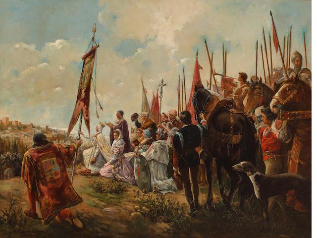 Antonio Casanova y Estorach (Spanish, 1847-1896) Isabella I the Catholic, conqueror of Granada 39 1/2 x 50 3/4in 100.5 x 129cm)
